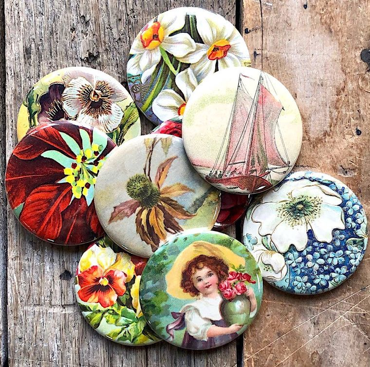 Pocket Mirrors - assorted vintage imagery
