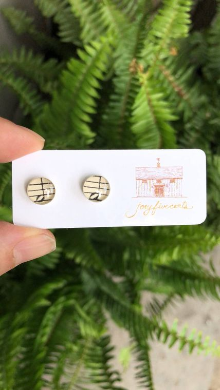 Small Circle Stud Earrings - music notes