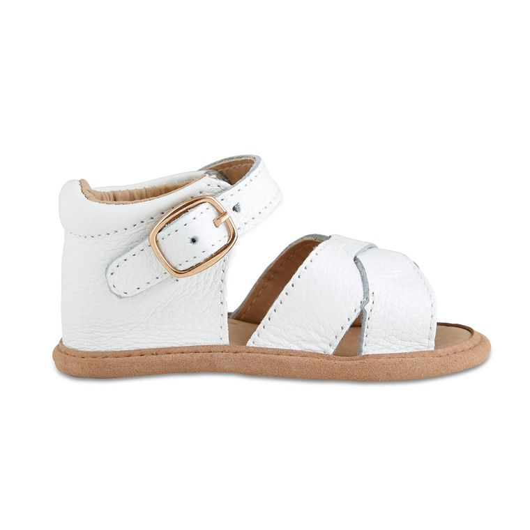 White Split-Soled Leather Baby Sandals