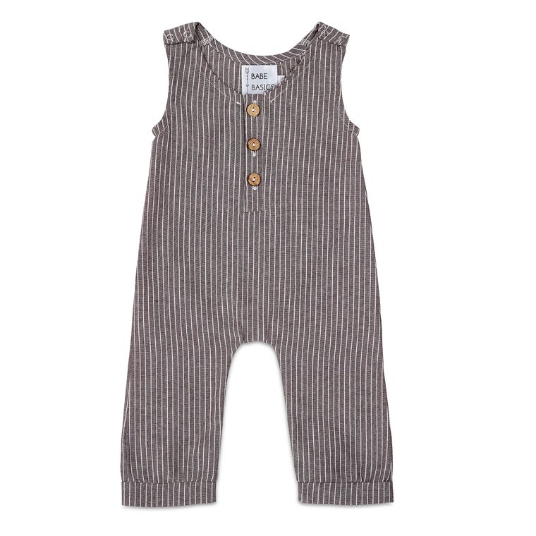 Grey Striped Linen Romper