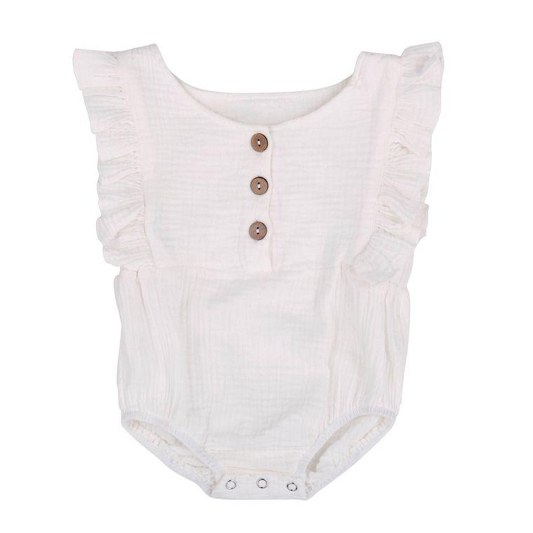 White Organic Baby Romper
