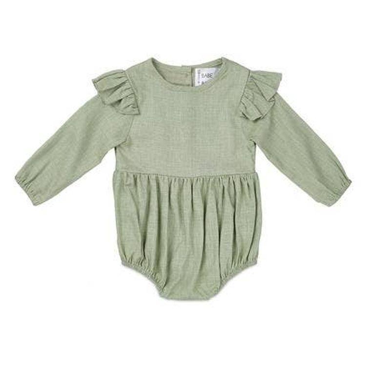 Sage Flutter Sleeve Linen Baby Romper
