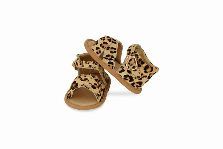 Leopard Split-Soled Leather Baby Sandals