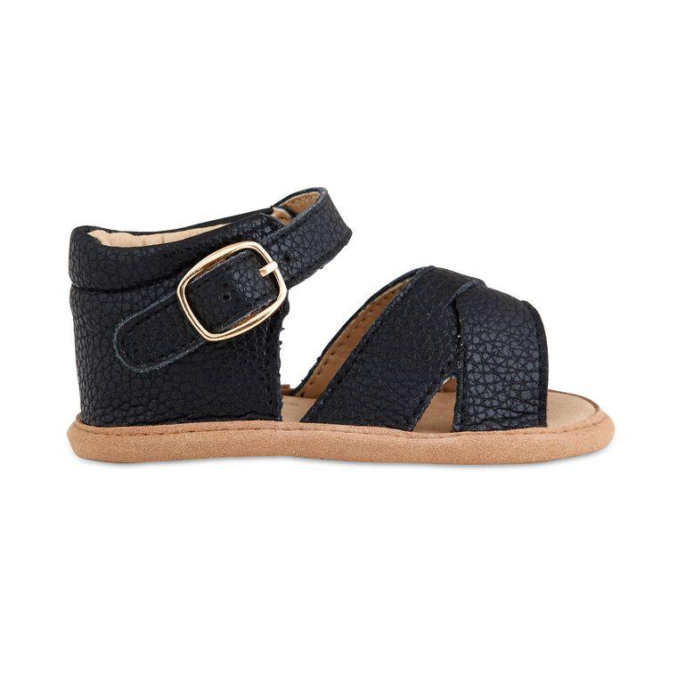 Black Split-Soled Leather Baby Sandals