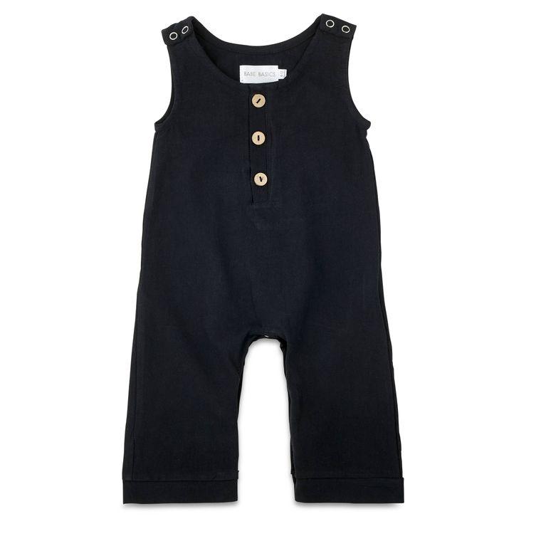 Black Linen Baby Romper
