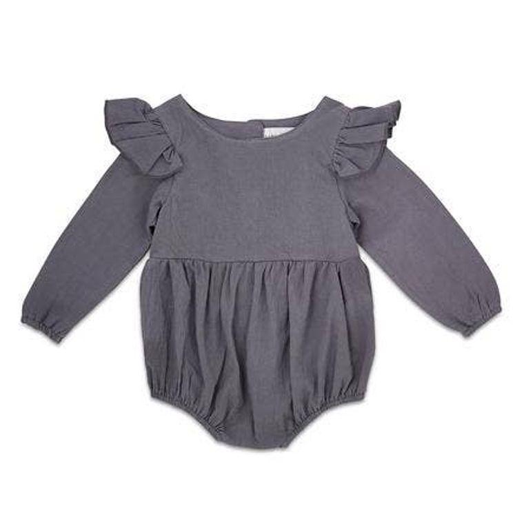 Navy Flutter Sleeve Linen Baby Romper