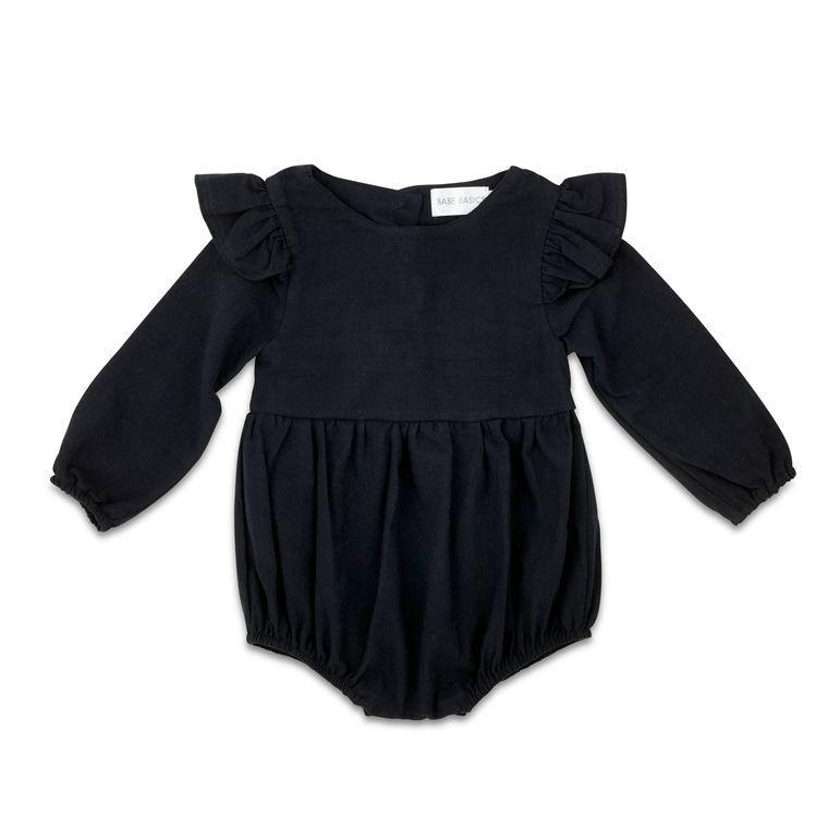 Black Flutter Sleeve Linen Baby Romper