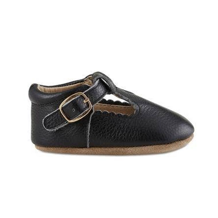 Black Soft-Soled Leather Baby Mary Janes