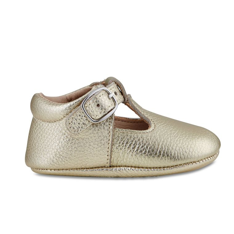 Gold Leather Soft-Soled Leather Baby Mary Janes
