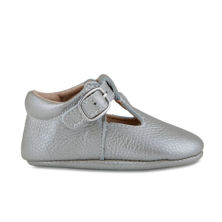 Silver Leather Soft-Soled Leather Baby Mary Janes