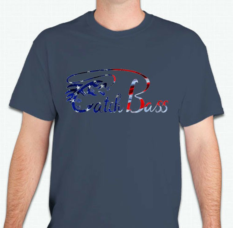 Catch Bass Red/White/Blue Lake Tee