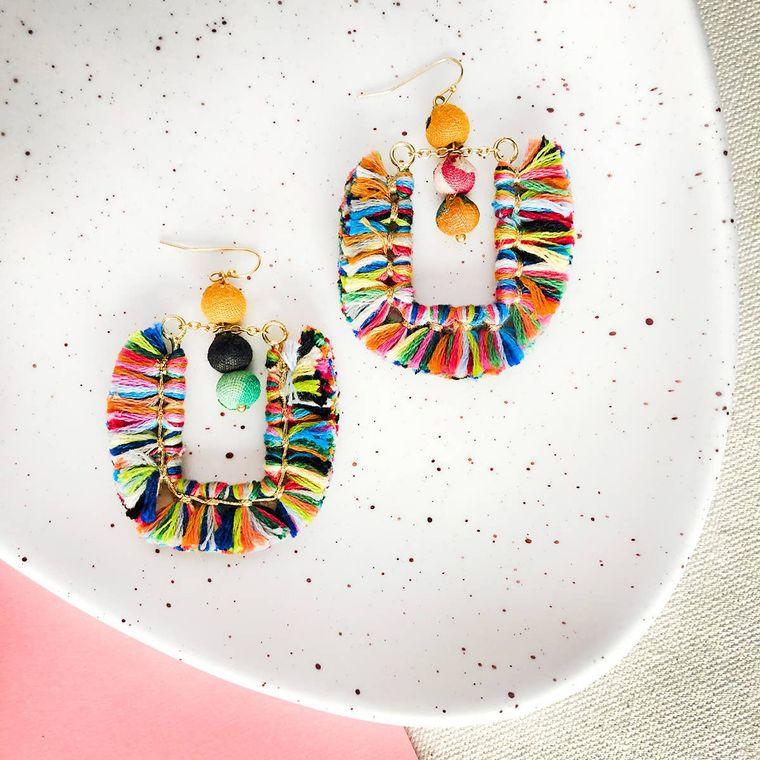 Tasseled Horseshoe Drop Earrings