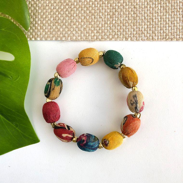 Kantha Oval Beaded Bracelet