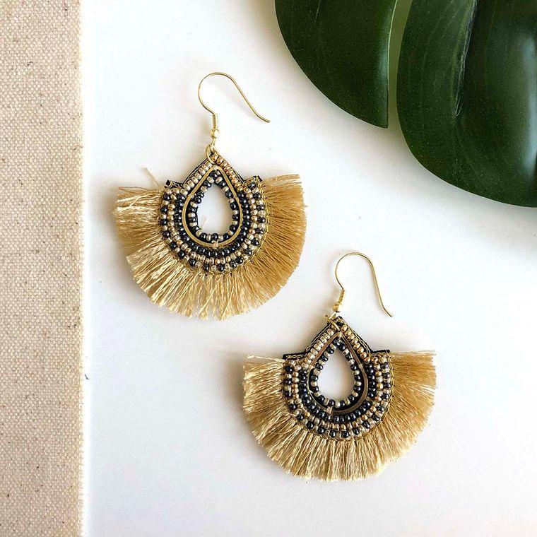 Golden Fan Teardrop Earrings