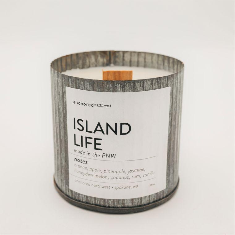 Island Life - Rustic Vintage Wood Wick Candle