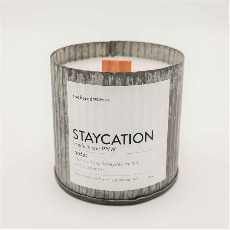 Staycation - Rustic Vintage Wood Wick Candle
