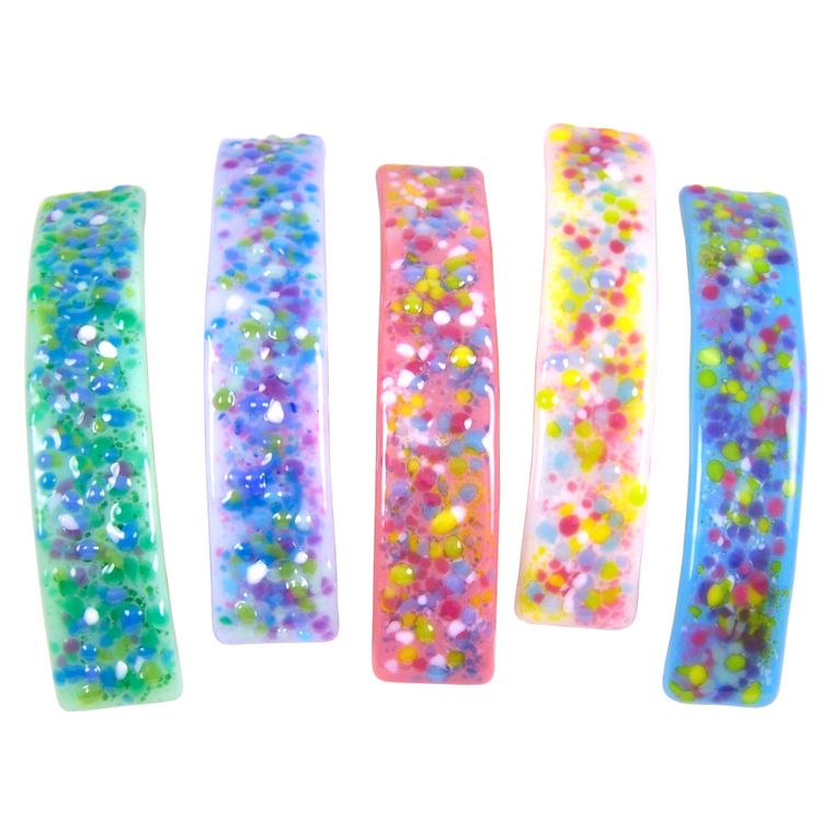 Barrettes Stained Glass Pastel Confetti Dots Large Size