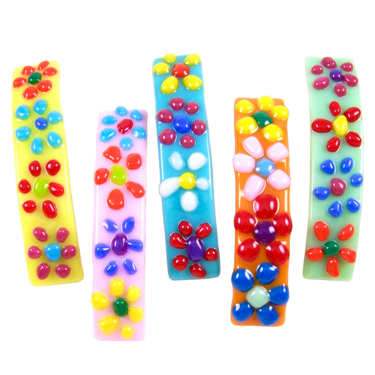 Barrettes Stained Glass Daisy Flowers Large Slide Clips