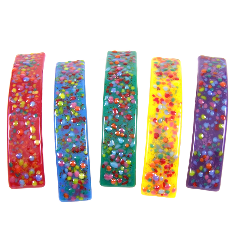Barrettes Stained Glass Rainbow Bright Confetti Dots Large Size Hair Clips