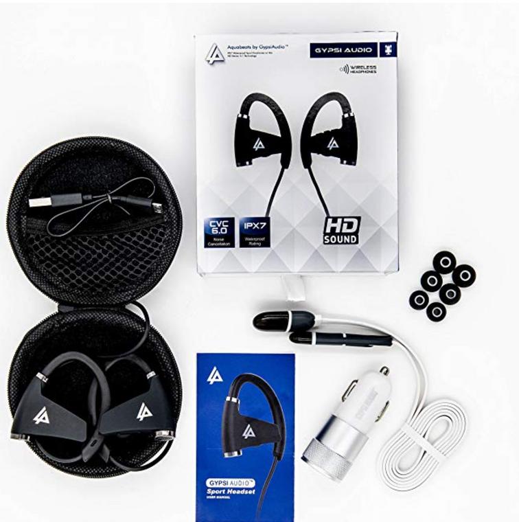 Gypsi Audio IPX7 Waterproof Bluetooth Wireless Headphones Earbudsl