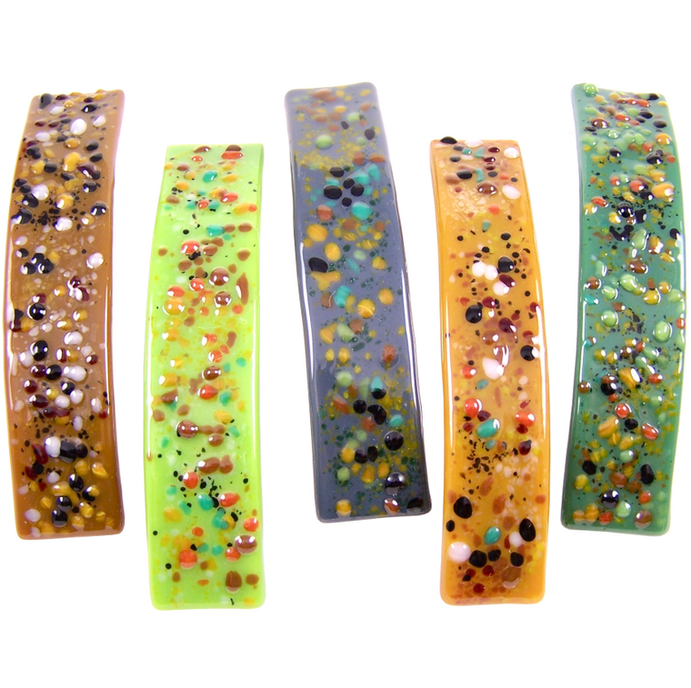 Barrettes Stained Glass Earth Color Confetti Dots Large Size Hair Clips