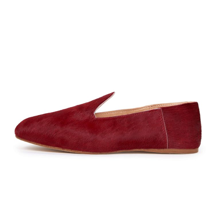 LEATHER SLIDE LOAFER - CHILI RED