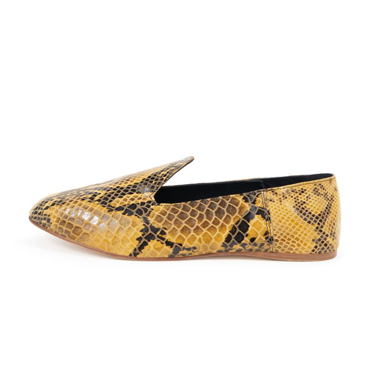 LEATHER SLIDE LOAFER - YELLOW