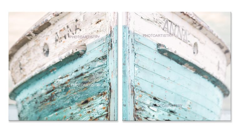 Vintage Wooden Ship Prints - Aqua
