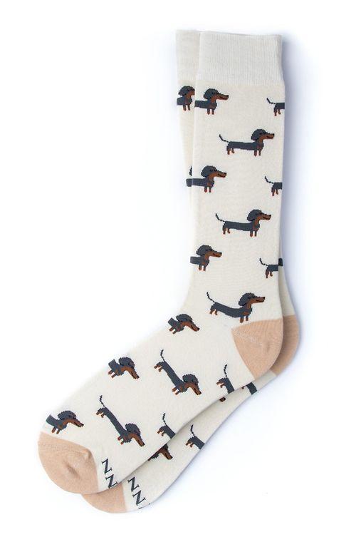 A Little Weenie DACHSHUND | WEINER DOG Sock by Alynn -  Cream Carded Cotton