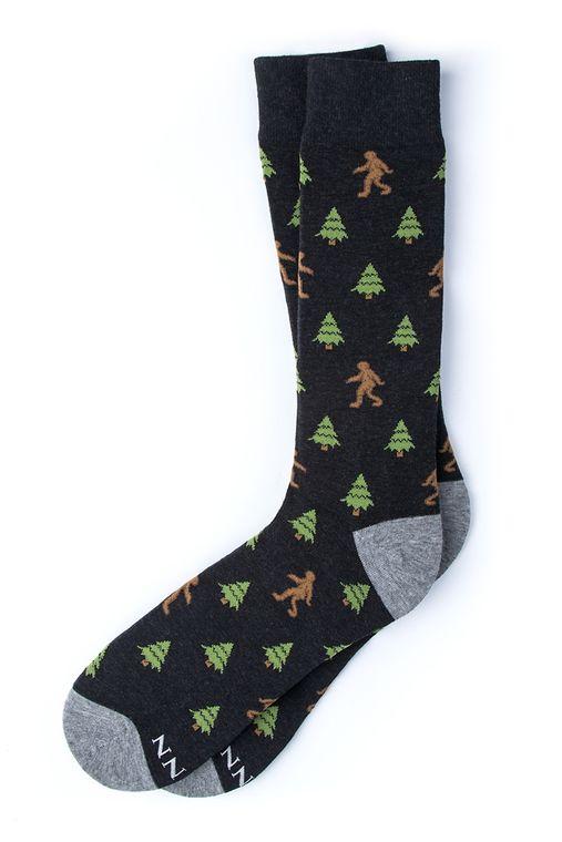 Gone Sasquatchin' Big Foot Sock by Alynn -  Black Carded Cotton