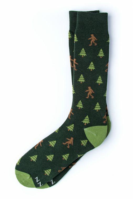 Gone Sasquatchin' Big Foot Sock by Alynn -  Hunter green Carded Cotton