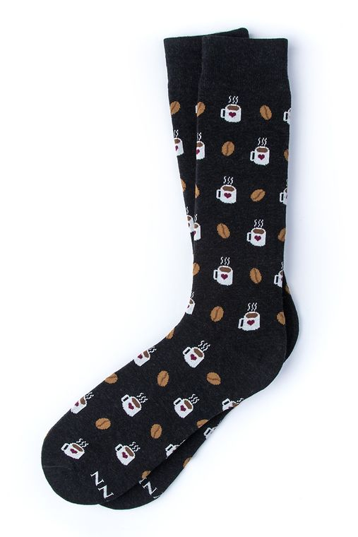But First, Coffee Sock by Alynn -  Black Carded Cotton