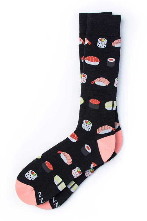 Sushi Addict Sock by Alynn -  Black Carded Cotton