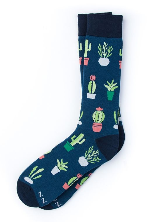 Succulent Socks by Alynn -  Navy Blue Carded Cotton
