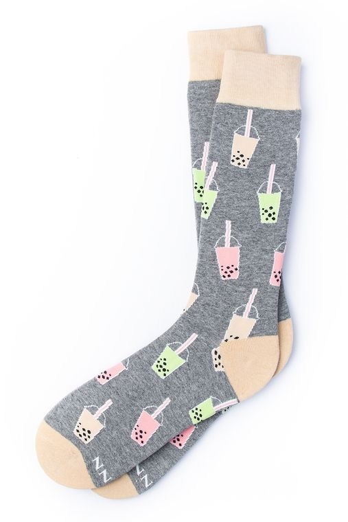 Boba is Life Sock by Alynn -  Gray Carded Cotton