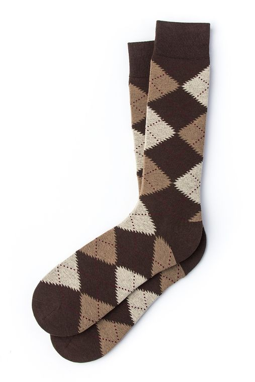 Argyle Assassin Sock by Alynn -  Brown Carded Cotton