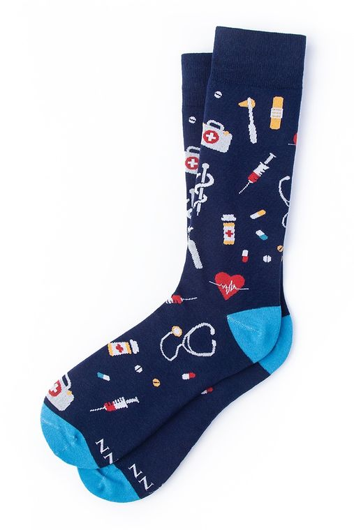 What's up Doc? Sock by Alynn -  Navy Blue Carded Cotton