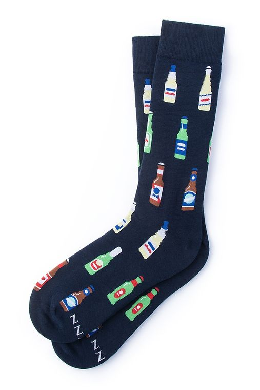Beer Me Sock by Alynn -  Navy Blue Carded Cotton
