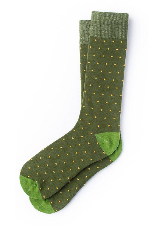 Dapper Dots Sock by Alynn -  Dark green Carded Cotton