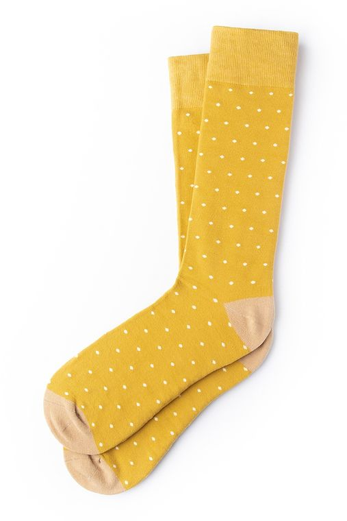 Dapper Dots Sock by Alynn -  Gold Carded Cotton