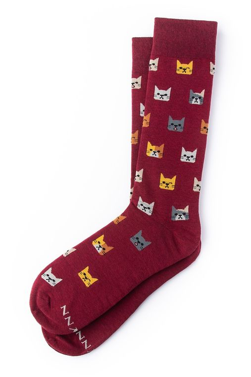 NOT KITTEN AROUND Sock by Alynn -  Burgundy Carded Cotton
