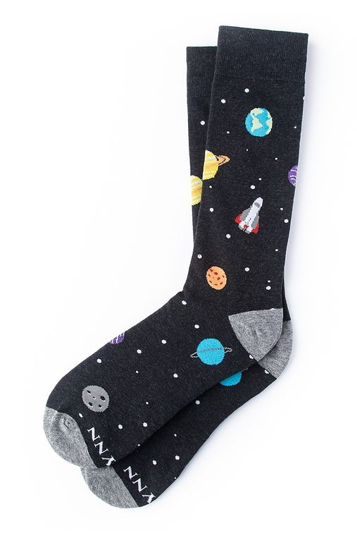I Need My Space Sock by Alynn -  Black Carded Cotton