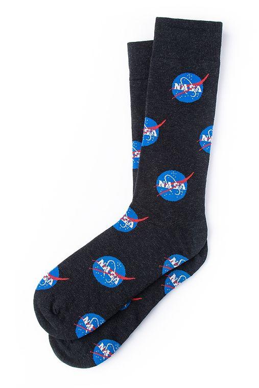 Nasa Meatball Logo Sock by Alynn -  Black Carded Cotton