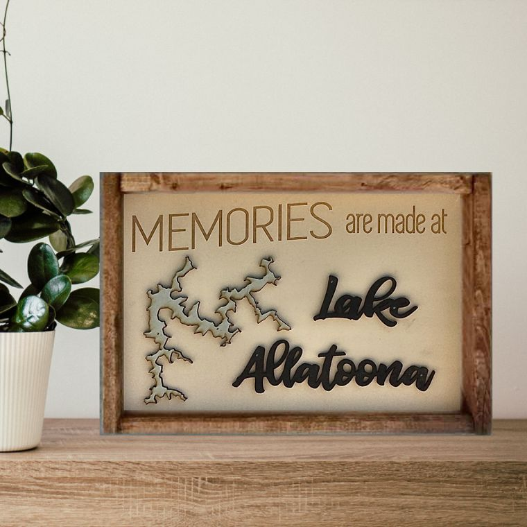 "14""x10"" Memories ""Any Lake"" Sign"