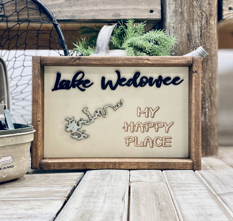 """14""""x10"""" My Happy Place """"Any Lake"""" Sign"""