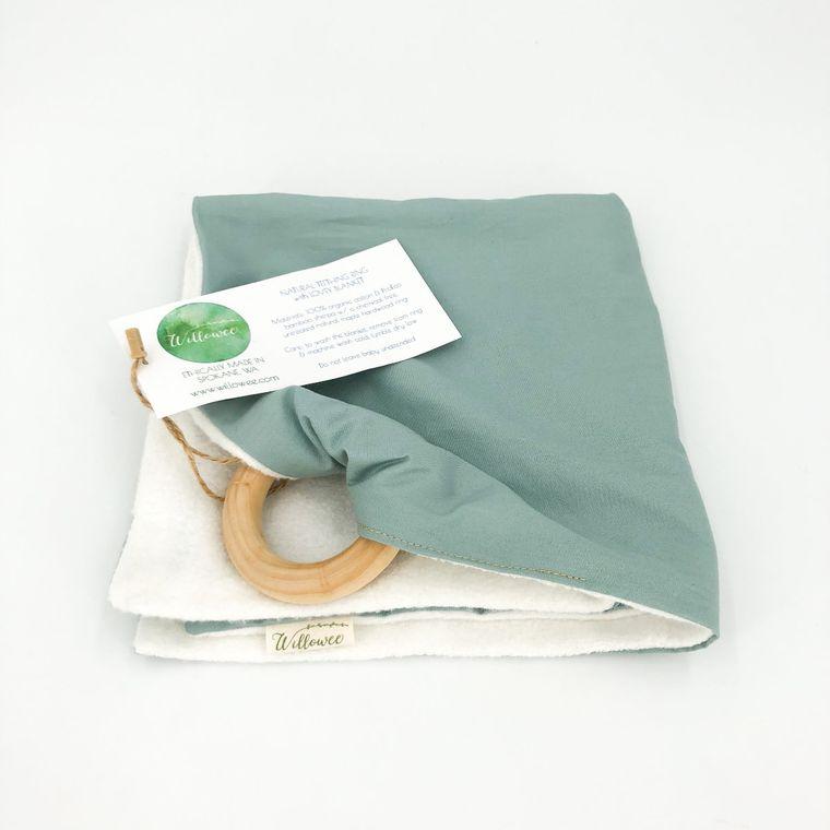 Lovey Blanket w/ Natural Teething Ring