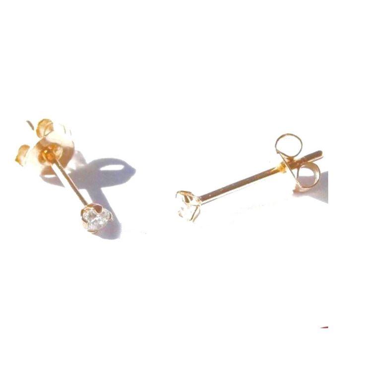 Micro Stud-Gold Crystal Gem