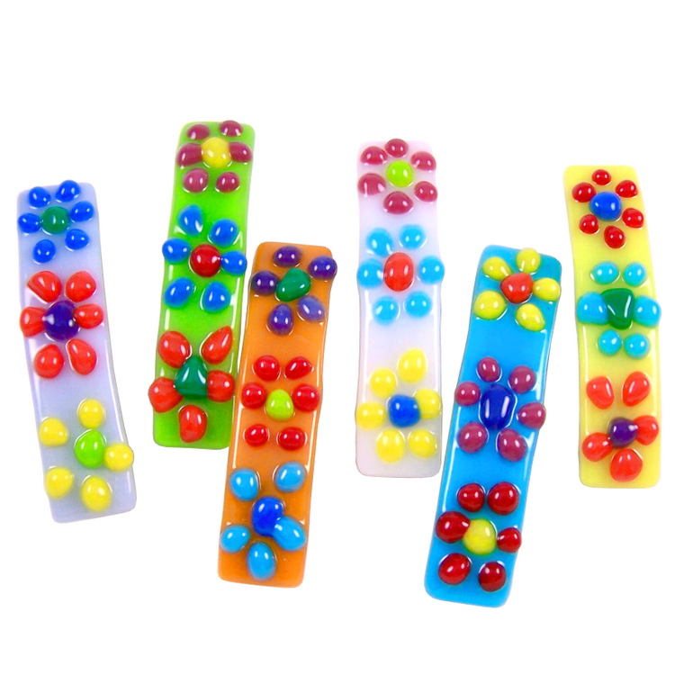 Barrettes Stained Glass Daisy Flowers Medium Slide Clips