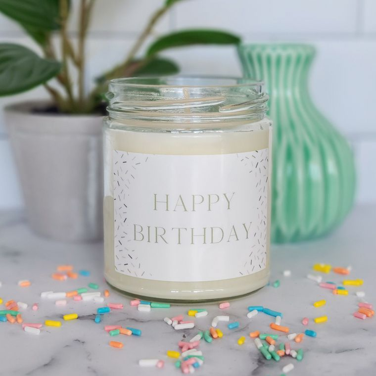 Happy Birthday Confetti Soy Candle by Abboo Candle Co