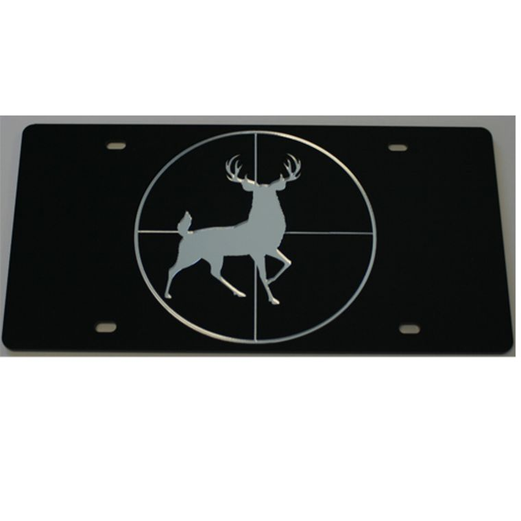 License Plate Buck In Scope Acrylic Mirrored Car Tag
